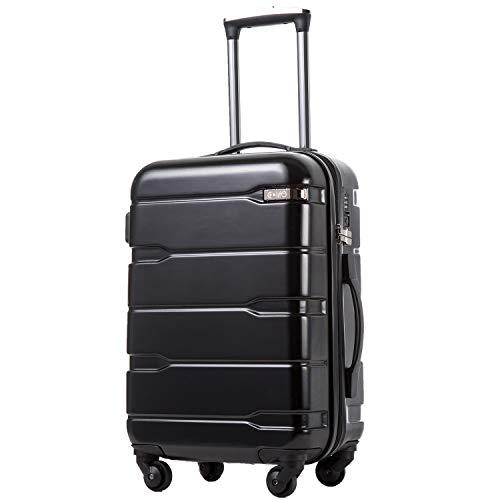 COOLIFE Koffer Reisekoffer Vergrößerbares Gepäck (Nur Großer Koffer Erweiterbar) PC + ABS Material mit TSA-Schloss und 4 Rollen(Schwarz, Großer Koffer)