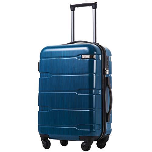 COOLIFE Koffer Reisekoffer Vergrößerbares Gepäck (Nur Großer Koffer Erweiterbar) PC + ABS Material mit TSA-Schloss und 4 Rollen(Caribbean Blue, Mittelgroßer Koffer)
