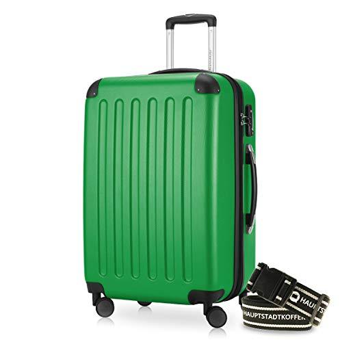 HAUPTSTADTKOFFER - Spree - Hartschalenkoffer Rollkoffer + Gepäckgurt, erweiterbarer Reisekoffer , TSA, 4 Rollen, 65 cm, 74 Liter, Grün