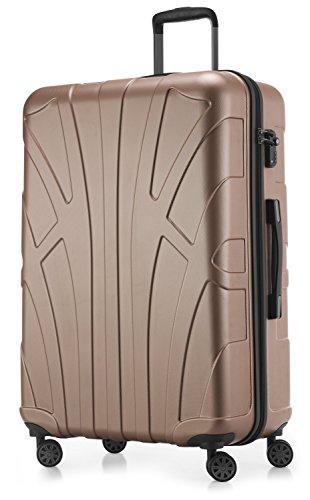 Suitline großer Hartschalen-Koffer Koffer Trolley Rollkoffer XL Reisekoffer, TSA, 76 cm, ca. 96-110 Liter, 100% ABS Matt, Gold