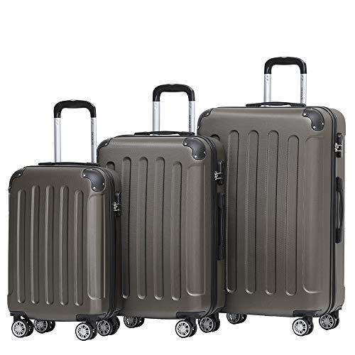 BEIBYE Hartschalen-Koffer Trolley Rollkoffer Reisekoffer Handgepäck 4 Rollen (M-L-XL-Set) (Coffee, Set)