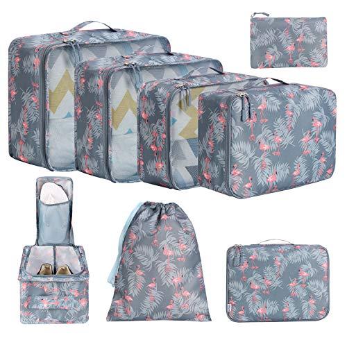 Amazon Brand - Eono 8 Teilige Kleidertaschen, Packing Cubes, Verpackungswürfel, Packtaschen Set für Urlaub und Reisen, Kofferorganizer Reise Würfel, Ordnungssystem für Koffer, Packwürfel - Flamingo