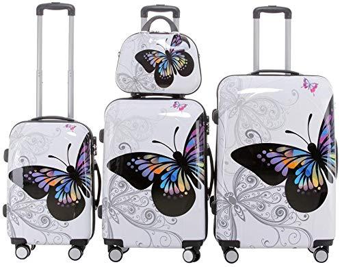 BEIBYE Reisekoffer Hartschalen Hardcase Trolley Zahlenschloss Polycarbonat Set-XL-L-M- Beutycase (Butterfly, 4er Set(XL+L+M+S))