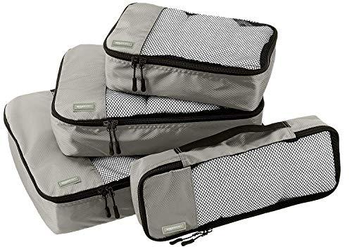 Amazon Basics Kleidertaschen-Set, 4-teilig, je 1 kleine, mittelgroße, große und schmale Packtasche, Grau