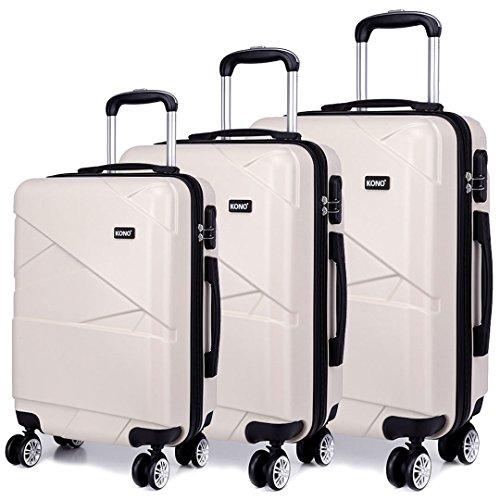 Kono Trolley Koffer Leicht Reisekoffer Reisekofferset Gepäckset Kofferset 4 Zwillingsrollen Hartschale (Beige, Set(M/L/XL))