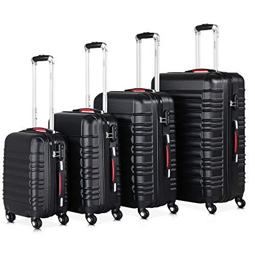 Monzana® Baseline 4er Set Koffer |Schwarz S, M, L, XL|Gelgriffe Zahlenschloss| Reisekoffer Trolley Kofferset Rollkoffer