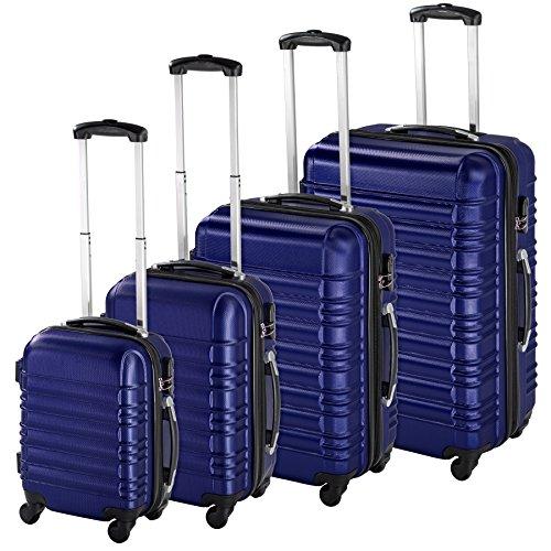 TecTake 4 teiliges ABS Hartschalen Reisekofferset 4 Rollen, 360 Grad drehbar - Diverse Farben - (Blau | Nr. 402027)