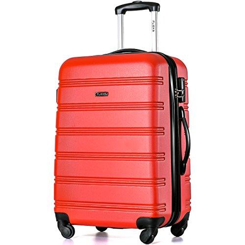 Flieks Reisekoffer ABS Hartschalen-Koffer Trolley Handgepäck Rollkoffer mit 4 Rollen, 38 Liter, 57x35x23cm, Grün M