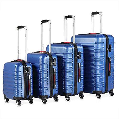 Monzana® Baseline 4er Set Koffer Blau S, M, L, XL Gelgriffe Zahlenschloss Reisekoffer Trolley Kofferset Rollkoffer
