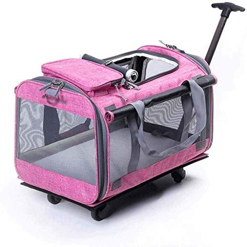 XZJJZ Hund Trolley Träger Faltbare Hunde Kleiner Hund Träger Rucksäcke Trolley-Tasche mit Rollen Top Mesh-Fenster Breathteleskopstiel Rucksäcke (Color : B)