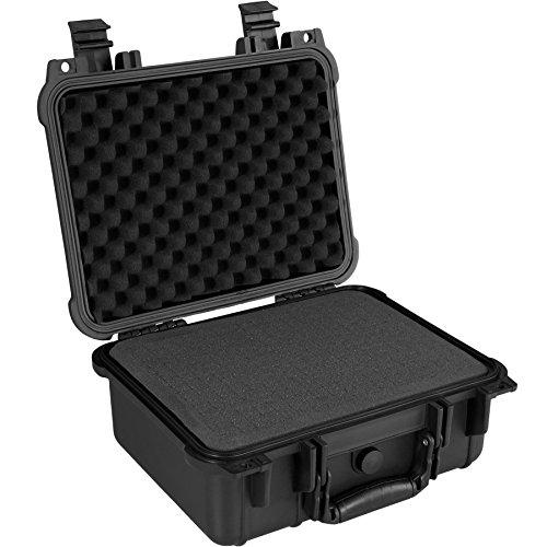 TecTake 800574 - Universalbox Kamera-Schutzkoffer, Leichte und robuste Hartschale aus Kunststoff, 3 Schaumstoffeinlagen - Diverse Größen (M   Nr. 402870)