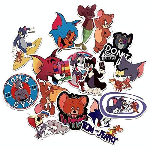 ZJJHX Katz und Maus Set Tom und Jerry Nette Aufkleber Persönlichkeit Wasserdichter Trolley Koffer Cartoon Graffiti Aufkleber 15