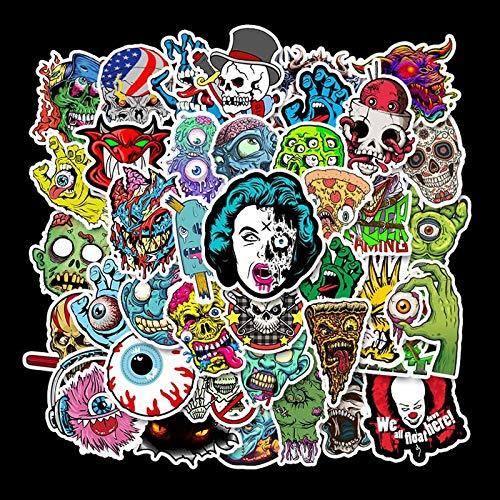Horror-Serie Totenkopf-Aufkleber, abnehmbar, für Motorradhelm, Skateboard, Trolley, Laptop, Gitarre, wasserdicht, 50 Stück