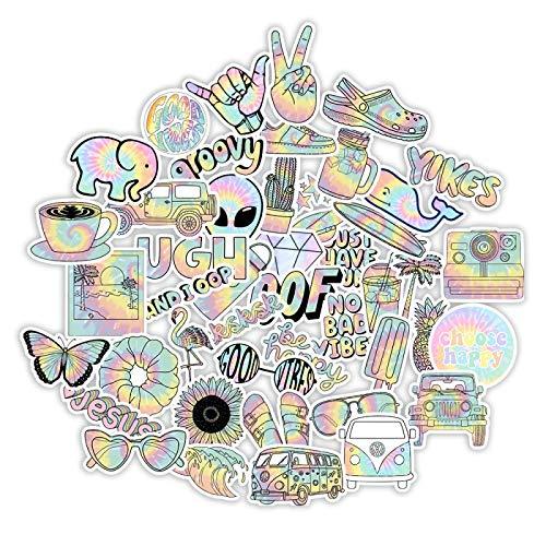 WYZNB Coole Farbe Graffiti selbstklebende Papier Aufkleber Gepäck Koffer Koffer Trolley Auto Motorrad Fahrrad Wasserflasche Skateboard Gitarre Wasserdicht DIY Aufkleber 50 Blatt