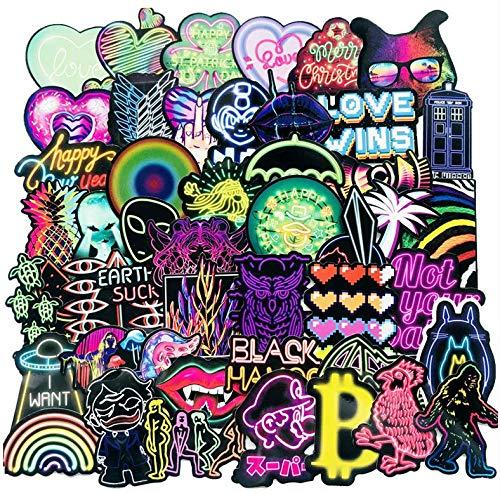 ZJJHX Neon Graffiti Aufkleber Cartoon Kreatives Auto Motorrad Computer Skateboard Trolley Gepäck Koffer Aufkleber 75 Blatt